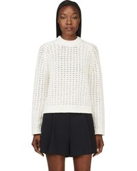 3.1 Phillip Lim - White Ivory Open_knit Sweater - Lyst