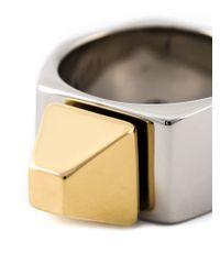 Saint Laurent - Metallic 'clous De Paris' Ring - Lyst