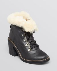 Jeffrey Campbell | Black Ankle Booties Berle Fur Cuff High Heel | Lyst