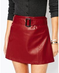 Glamorous | Red Leather Look Aline Mini Skirt With Belt Detail | Lyst