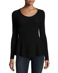 Neiman Marcus | Black Peplum Cashmere Sweater | Lyst