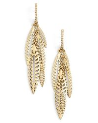 Rebecca Minkoff | Metallic Leaf Cluster Drop Earrings | Lyst