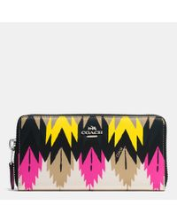 COACH | Multicolor Accordion Zip Wallet In Printed Crossgrain Leather | Lyst