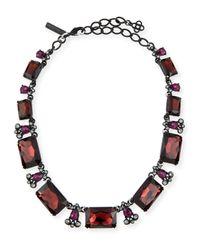 Oscar de la Renta - Black Large Octagon Stone Necklace - Lyst