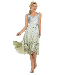 Komarov - Green Charmeuse Lace Up Back Dress - Lyst