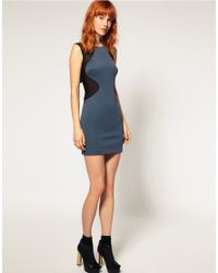 ASOS - Gray 2-Tone Contour Body-Conscious Dress - Lyst