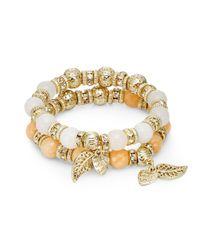 Saks Fifth Avenue | Metallic Dyed Quartz & Beaded Charm Stretch Bracelet Set/orange & White | Lyst