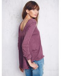 Free People | Purple Womens Low Back Shirred Pullover | Lyst