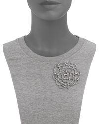 Oscar de la Renta | Metallic Pavé Flower Convertible Brooch & Pendant Necklace | Lyst