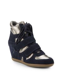 Ash | Blue Bea Suede Perforated Leather Wedge Sneakers | Lyst