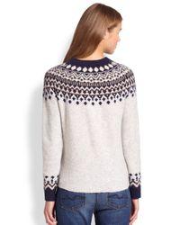 Joie - Gray Deedra Fairisle Sweater - Lyst