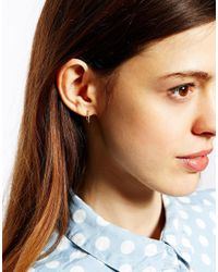 Dogeared - Metallic Exclusive For Asos Tiny Sparkle Karma Gold Plated Hoop Earrings - Lyst