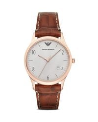 Emporio Armani - Brown 3-hand Croc-embossed Leather Strap Watch, 41mm for Men - Lyst