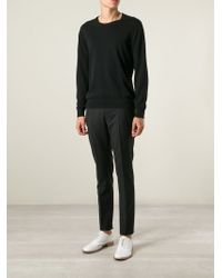 Lanvin - Black Slim Fit Trousers for Men - Lyst