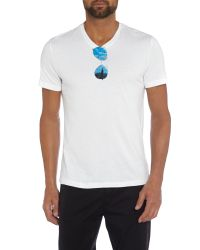 Michael Kors - White Sunglasses Graphic V Neck T-shirt for Men - Lyst