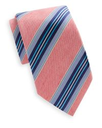 Saks Fifth Avenue | Purple Pond Striped Linen & Silk Tie for Men | Lyst
