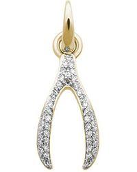 Links of London | Metallic Wishbone 18ct Yellow-gold And Diamond Charm | Lyst