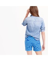 J.Crew - Blue Striped Short In Bright Ocean - Lyst
