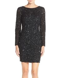 Adrianna Papell | Black Embellished Mesh Sheath Dress | Lyst