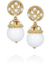 Kenneth Jay Lane - White Goldplated Resin Clip Earrings - Lyst