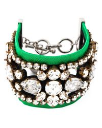 Shourouk | Green 'crystal Lace' Cuff | Lyst