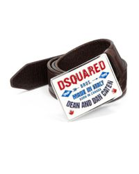 DSquared² | Brown Logo Belt for Men | Lyst