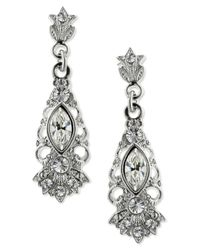 2028 | Metallic Silver-tone Glass Crystal Drop Earrings | Lyst