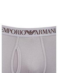 Emporio Armani - Gray Stretch Cotton Jersey Leggings - Lyst