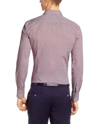 BOSS - Red 'jaser' | Slim Fit, Italian Cotton Printed Dress Shirt for Men - Lyst
