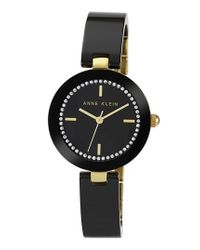 Anne Klein - Black Ceramic Half Bangle Watch - Lyst