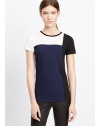 Vince | Blue Tri Colorblock Short Sleeve Tee | Lyst