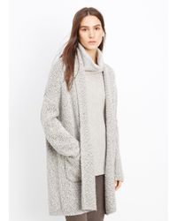 Vince - Gray Shawl Collar Multicolor Knit Car Coat - Lyst
