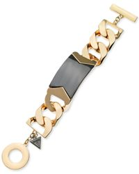 Guess | Metallic Two-tone Link Id Toggle Bracelet | Lyst