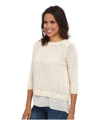 Lucky Brand | White Mixed Media Pullover | Lyst