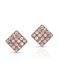 Anne Sisteron | Pink 14kt Rose Gold Diamond Mini Square Stud Earrings | Lyst