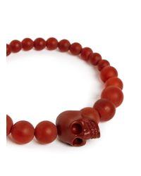 Alexander McQueen   Red Resin Bead Skull Bracelet for Men   Lyst