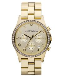 Marc By Marc Jacobs - Metallic 'henry' Chronograph & Crystal Topring Watch - Lyst
