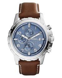 Fossil | Brown 'dean' Chronograph Leather Strap Watch for Men | Lyst