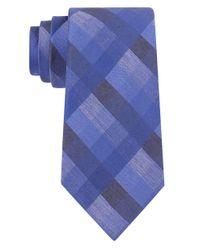 Calvin Klein | Blue Woven Plaid Tie for Men | Lyst