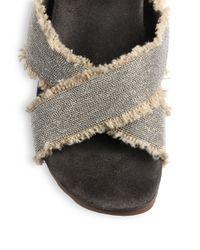 Brunello Cucinelli - Brown Beaded Frayed Criss-Cross Slide Sandals - Lyst