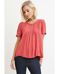Forever 21 - Pink Embroidered Pintuck Top You've Been Added To The Waitlist - Lyst