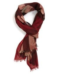 Burberry | Red Silk & Wool Check Scarf for Men | Lyst