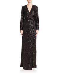 Diane von Furstenberg | Black Ariel Sequined Silk Wrap Gown | Lyst