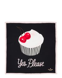 Kate Spade | Black Magnolia Bakery Yes Please Silk Scarf | Lyst