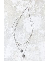 Urban Outfitters | Metallic Hamsa Charm Triple-layer Necklace | Lyst