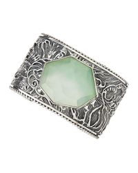 Stephen Dweck - Metallic Carved Sterling Silver Green Agate Cuff - Lyst