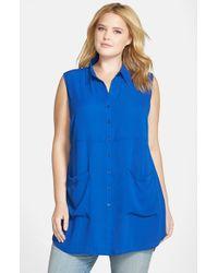 Sejour - Blue Sleeveless Pocket Tunic - Lyst