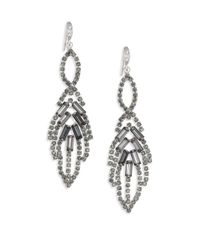ABS By Allen Schwartz | Metallic Mixers Leaf Chandelier Earrings/silvertone | Lyst
