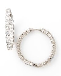 Roberto Coin - Multicolor 35mm White Gold Diamond Hoop Earrings - Lyst