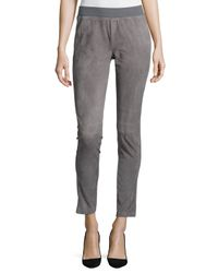 Lafayette 148 New York - Gray Suede-front Knit-back Moto Pants - Lyst